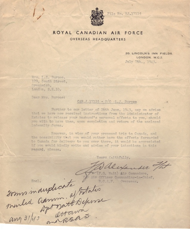 RCAF Min of Estate Letter Burpee